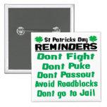 Erinnerungen St. Patricks Tages Buttons