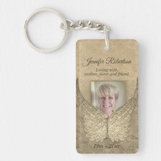 Erinnerungsengels-Flügel addieren Foto-Gold Schlüsselanhänger