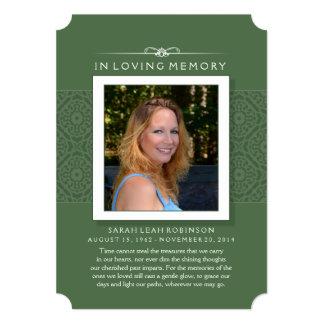 Erinnerungskarte - elegantes Grün - Gedicht des 12,7 X 17,8 Cm Einladungskarte