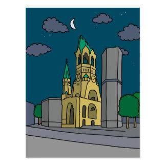 Erinnerungskirche Berlin (Gedächtniskirche) nachts Postkarte