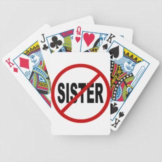 Erlaubte Zeichen-Aussage Hass-Schwester-/No Bicycle Spielkarten