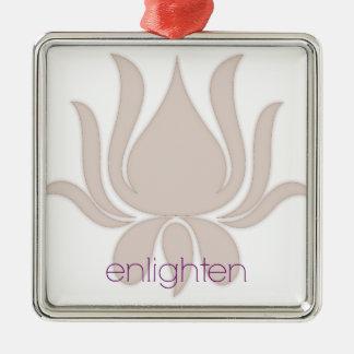 Erleuchten Sie Lotus Quadratisches Silberfarbenes Ornament