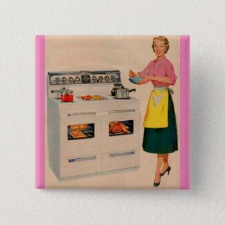 Erma und ihr doppelt-barreled Ofen Quadratischer Button 5,1 Cm