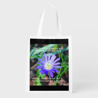 Ermutigungs-lila Wildblume-Themed Tasche Wiederverwendbare Tragetasche