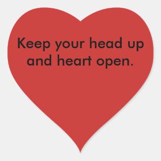 Ermutigungs-Linie Kopf oben Herz-Aufkleber