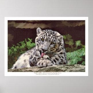 """""""ERNÄHREN Sie"""" Schnee-Leopard-Tier-Kunst-Druck Poster"""
