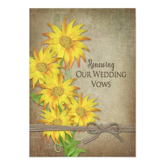 Erneuernde Ehegelübde-Einladung - Sonnenblumen Karte