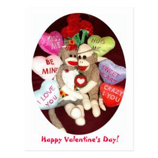 Ernie die Socken-Affe-Valentinstag-Postkarte Postkarte