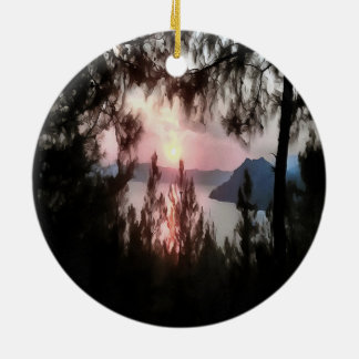 Ernster Sonnenuntergang Keramik Ornament