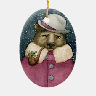 Ernstes Bärn-Weihnachten Ornmanet Keramik Ornament