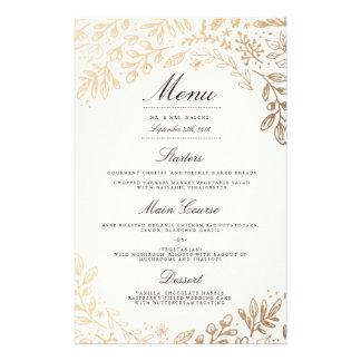 Ernte-Blumen-Hochzeits-Abendessen-Menü Flyer