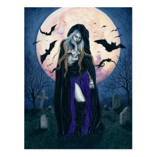 Ernte-Mond-Halloween-Hexe-Postkarte Postkarte