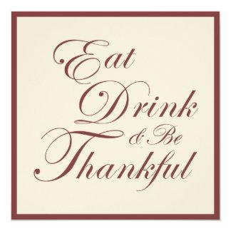 Erntedank-Abendessen | essen Getränk und sind Quadratische 13,3 Cm Einladungskarte