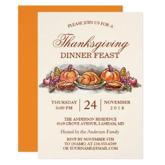 Erntedank-Abendessen-Fest mit die Türkei-Kürbis Karte