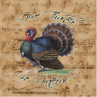 Erntedank die Türkei auf Vintagem Musik-Blatt Freistehende Fotoskulptur