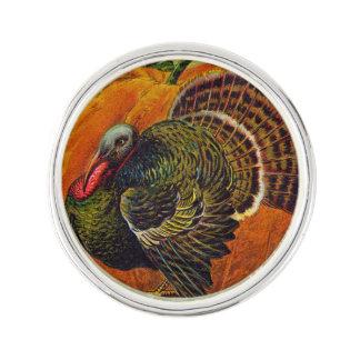 Erntedank die Türkei vor einem orange Kürbis Anstecknadel