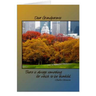 Erntedank-Fall in Central Park für Großeltern Karte