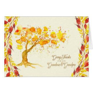 Erntedank für Großmutter-und Großvater-Herbst-Baum Grußkarte