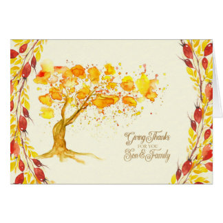 Erntedank für Sohn-und Familien-Herbst-Baum Grußkarte