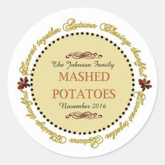 Erntedank-Gefühle stampften Kartoffel-Aufkleber Runder Aufkleber