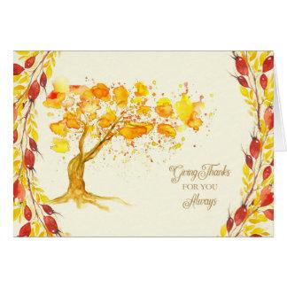 Erntedank gibt Dankbaum-und Briar-Beeren Grußkarte