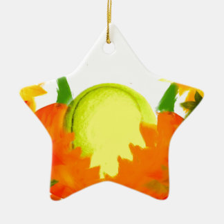 Erntedank-Tennis-Ball Keramik Stern-Ornament