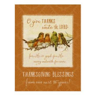 Erntedankscripture-Vögel - Vintage Wiedergabe Postkarte
