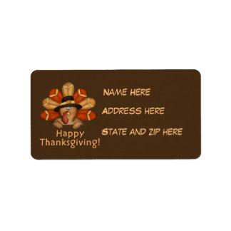 Erntedanktruthahn Feiertags-Adressen-Etikett Adressaufkleber