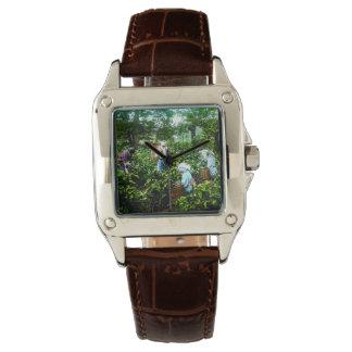 Ernten grüne Teeblatt-alter Japan-Bauern Armbanduhr