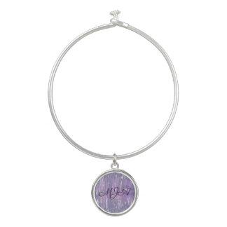 Ernüchtertes Bling | Monogramm-lila Silber | Armreif
