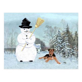 Errichten Sie einen Schneemann Postkarte