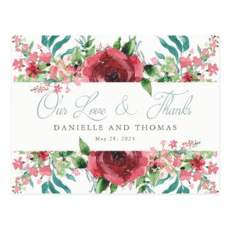 Erröten Aquarell-Hochzeits-Postkarte danken Ihnen Postkarte