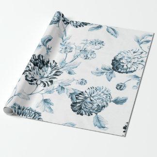Erröten blaues u. weißes Vintages botanisches Geschenkpapier