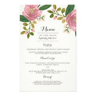 Erröten Blumenstrauß-Hochzeits-Abendessen-Menü Flyer