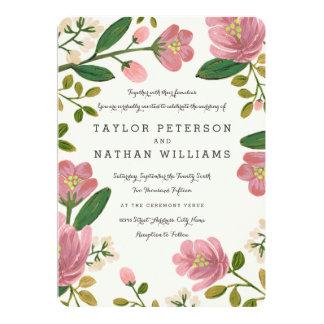Erröten Blumenstrauß-Hochzeits-Einladungen 12,7 X 17,8 Cm Einladungskarte