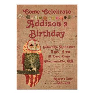 Erröten Eulen-Geburtstags-Einladung