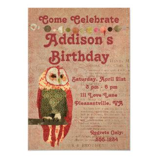 Erröten Eulen-Geburtstags-Einladung 12,7 X 17,8 Cm Einladungskarte