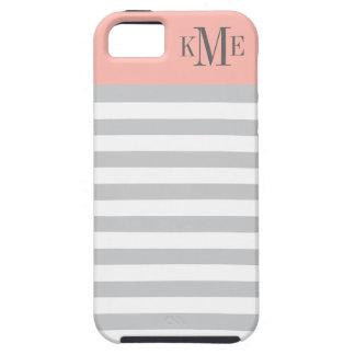 Erröten Grau-Streifen des Farbblock-Monogramm-| iPhone 5 Schutzhüllen