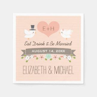 Erröten Liebe-Vogel-Tauben-Hochzeit Servietten