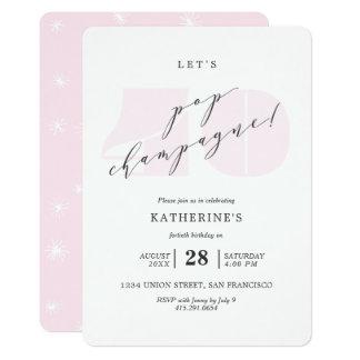 Erröten rosa 40. Geburtstags-Party Champagne 12,7 X 17,8 Cm Einladungskarte