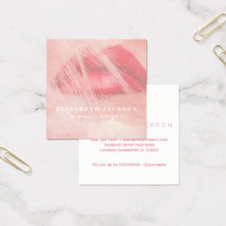 Erröten rosa Aquarelllippenproduktverteiler Quadratische Visitenkarte