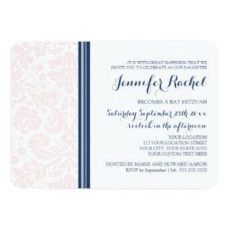 Erröten rosa blaue Damast-Schläger Mitzvah 12,7 X 17,8 Cm Einladungskarte