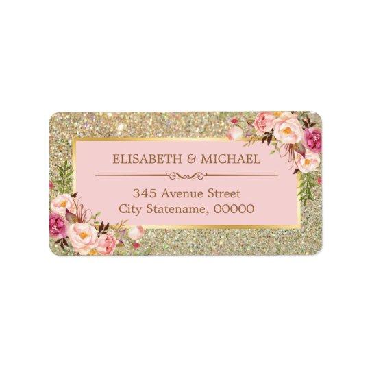 Erröten rosa BlumengoldGlitter-funkelnde Hochzeit Adressaufkleber