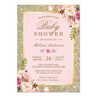 Erröten rosa BlumengoldGlitzern-Baby-Dusche Karte