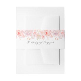 Erröten rosa Blumenhochzeit Einladungsbanderole