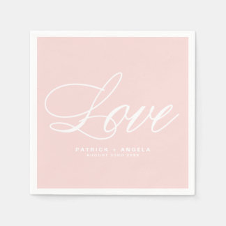 Erröten rosa elegantes Liebe des Skript-| Wedding Servietten