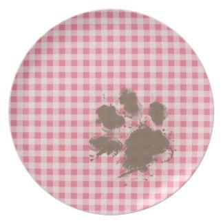 Erröten rosa Gingham; Lustiger Tatzen-Druck Party Teller