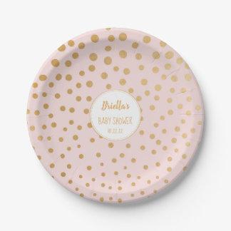 Erröten rosa Goldpunktmädchen-Babypartythema Pappteller