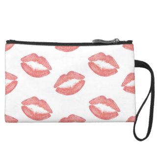 Erröten rosa Lippenstift-Küsse Mini Velour Clutch