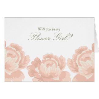 Erröten rosa Rosen-Blumen-Mädchen-Karte Karte